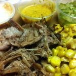 Smoked pulled pork, elotes, spicy pickles. 5/22/12